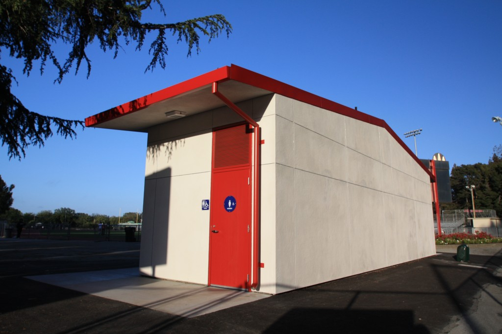 Exterior of San Mateo Union High School Modular Restrooms