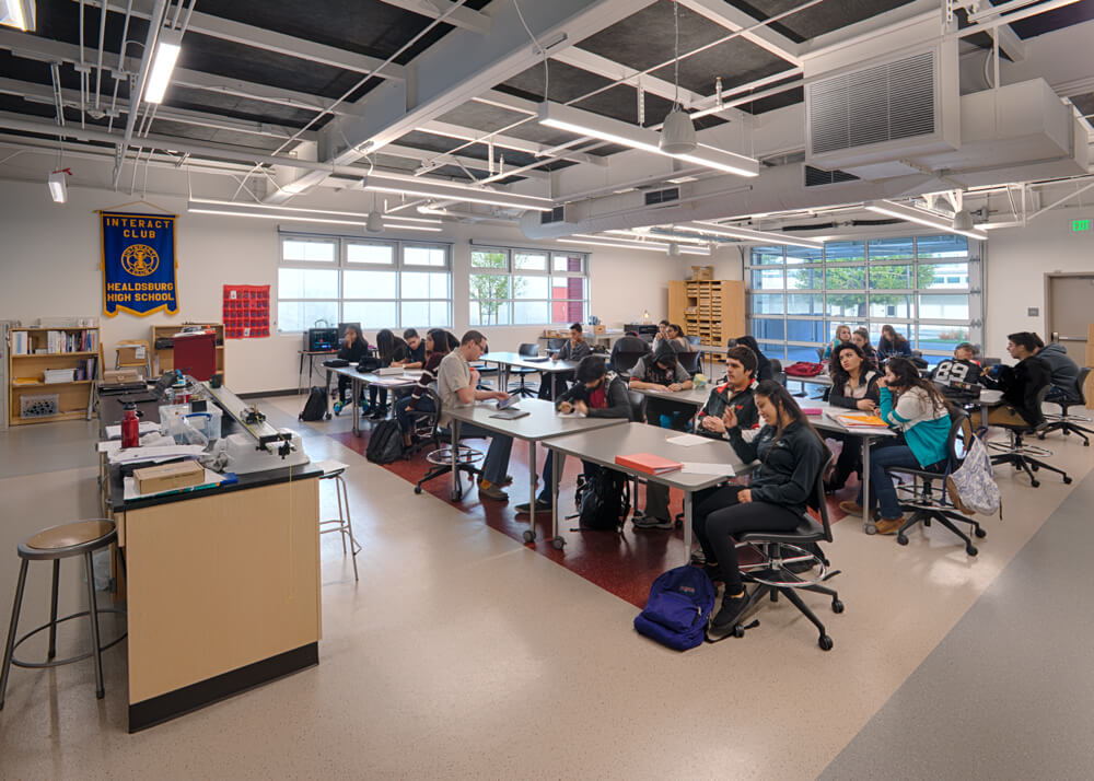 Healdsburg High School Modular Classroom with Students